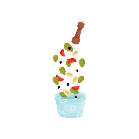 Salad with boiled egg and vegetables in the bowl. Vector illustration on white background.