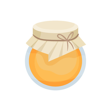 Closed glass jar full of honey. Cloth with rope on the cover. Vector illustration on white background.