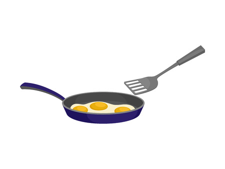 Three eggs are fried in a blue pan. Near the shoulder blade. Vector illustration on white background.