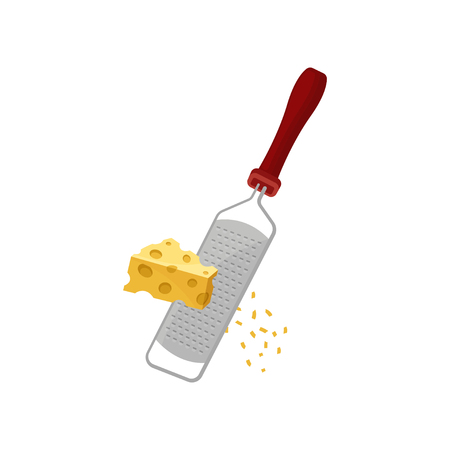 Cheese grater, small chips flying to the side. Vector illustration on white background.