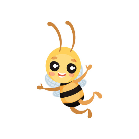 Cartoon humanized bee flies and holds hands to the sides. Vector illustration on white background.