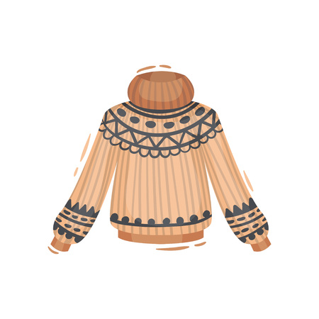 Knitted brown sweater with a traditional pattern of iceland. Vector illustration on white background.