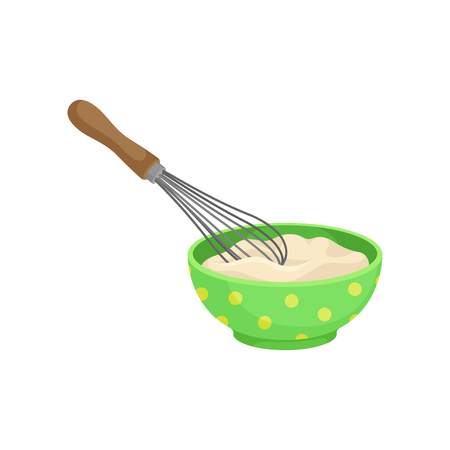 Ceramic green bowl full of fresh dough with a whisk. Vector illustration on white background.