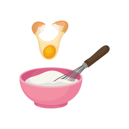 Add the yolk from the broken egg. Pink bowl full of dough. The Corolla. Vector illustration on white background.