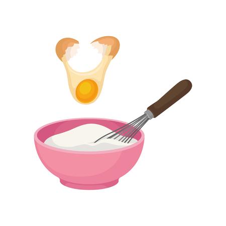 Voeg de dooier van het gebroken ei toe. Roze kom vol deeg. De Corolla. Vectorillustratie op witte achtergrond. Vector Illustratie