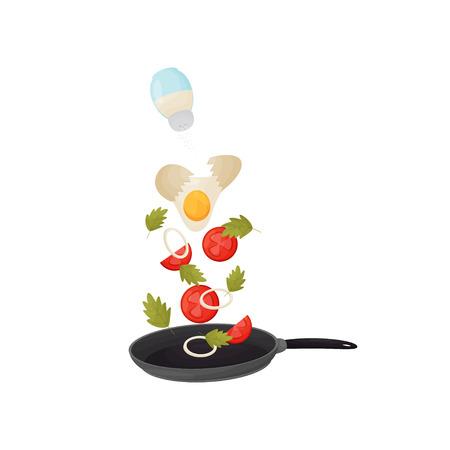 Oeuf versé, tomates et oignons dans la poêle. Illustration vectorielle. Vecteurs