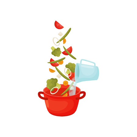 Poured broccoli tomatoes, onions, green beans, water in a saucepan red. Vector illustration on white background. Illustration