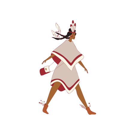 Woman red indian comes with a leather bag. Vector illustration on white background.