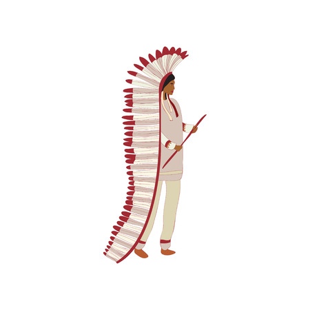 Male leader red indian with a stick. Vector illustration on white background.
