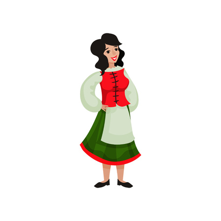 Girl in traditional costume of Italy. Vector illustration on white background.