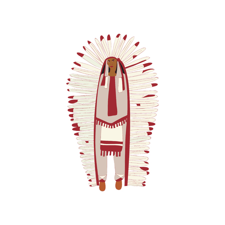 Young red Indian man in a magnificent plumage is standing. Vector illustration on white background.