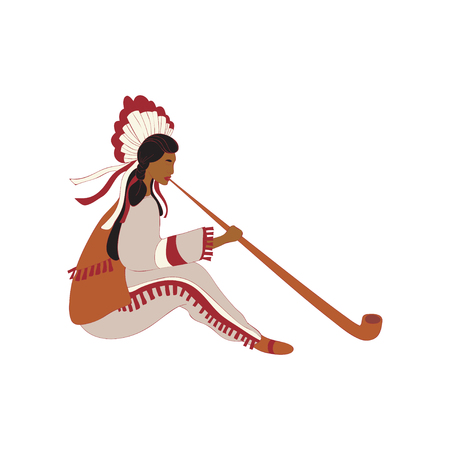 Red Indian girl holding a long tube. Vector illustration.
