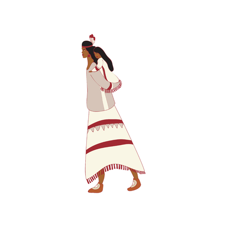 Mother red Indian carries daughter on her back. Vector illustration on white background. Illustration