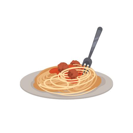 Pasta mit Fleischbällchen, Sauce und einer Gabel auf einem Teller. Vektor-Illustration.