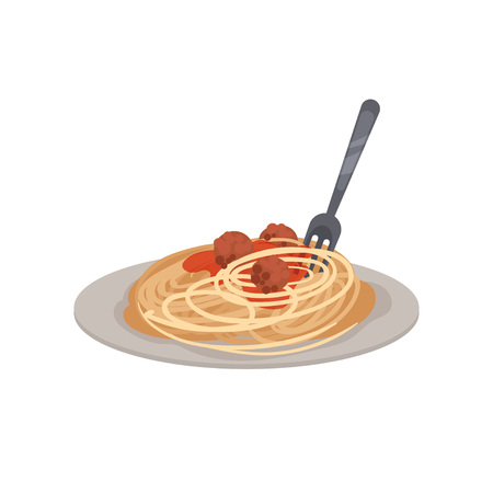 Pasta with meatballs, sauce and a fork on a plate. Vector illustration. Illustration
