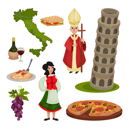 Set of various symbols of Italy. Vector illustration on white background.