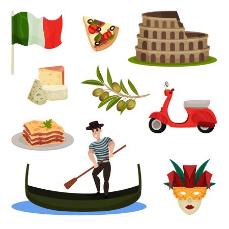 Set of traditional symbols of Italy. Pizza, kolezy, gondolier, national flag. Vector illustration on white background.