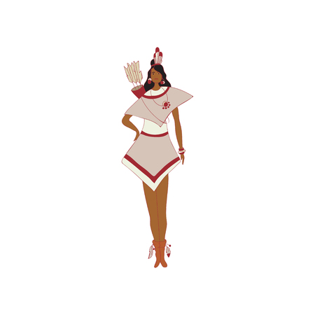 Young woman standing with a red Indian quiver on his back. Vector illustration on white background. Illustration