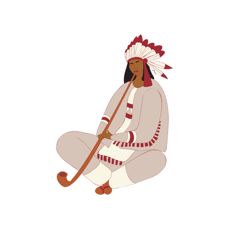 Young male red Indian pipe smoke in the lush plumage. Vector illustration on white background.
