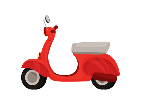 Economical red moped in traditional style. Vector illustration on white background. Illustration