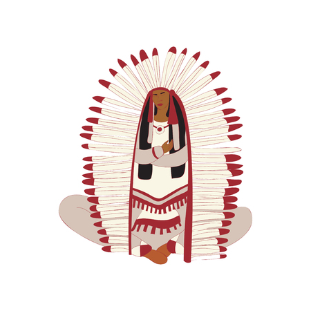 Young Woman Red Indian with a magnificent plumage sitting in the lotus position. Vector illustration on white background. Illustration