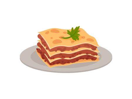 Traditional Italian dessert. Tirammisu on a platter. Vector illustration on white background.