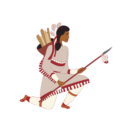 Young male red Indian kneels on one knee. Svzyak firewood behind his back. Holds a spear in his hands. Vector illustration on white background.