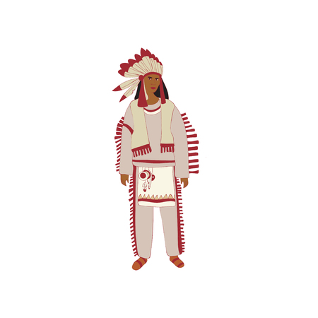 Man Red Indian with magnificent plumage stands. Vector illustration on white background. Illustration