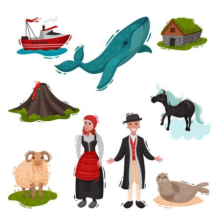 Scandinavian set of illustrated characters. Vector on white background.