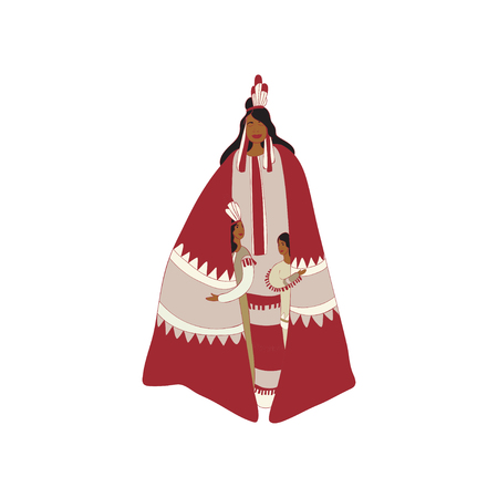 Children red Indian hide under the cloak of the mother. Vector illustration on white background. Illustration