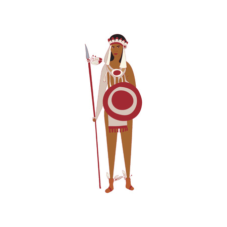 Young man standing with a red Indian with a spear and shield in hand. Vector illustration on white background. Illustration