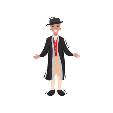 Man in traditional scandinavian clothes. Vector illustration on white background. Illustration