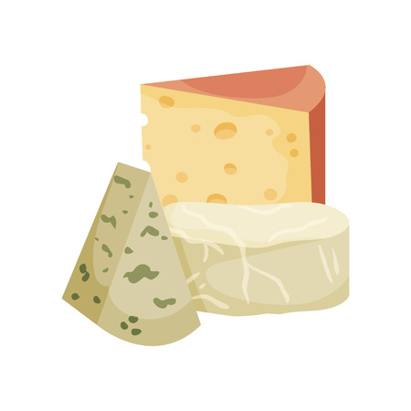 Set of three varieties of cheese. Vector illustration on white background.