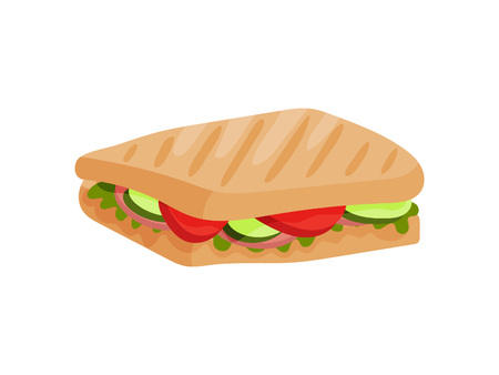 Rectangular sandwich with ham, tomato and cucumber. Vector illustration on white background. Illustration