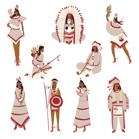 Set of images of American Red Indian. Vector illustration on white background. Illustration
