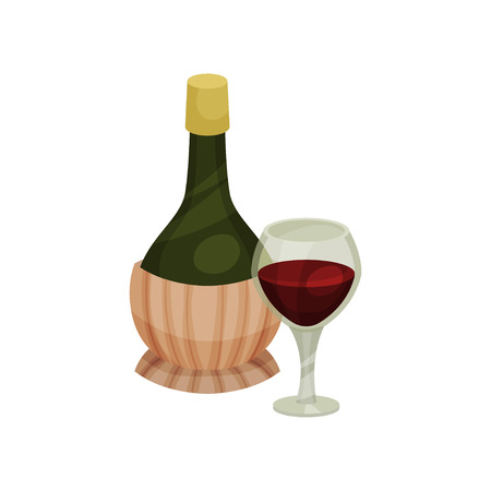 Traditional round bottle of wine. A glass of red wine. Vector illustration on white background.