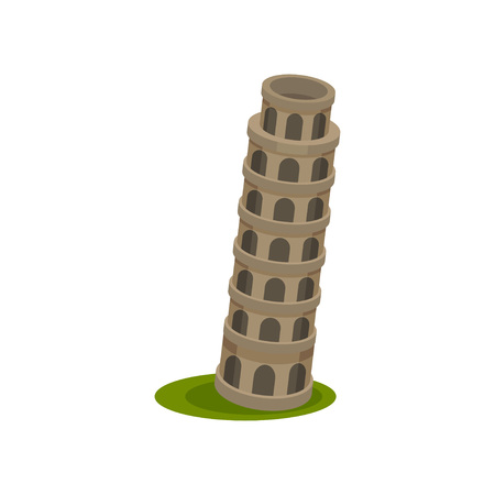 Image of the Leaning Tower. Vector illustration on white background. Illustration