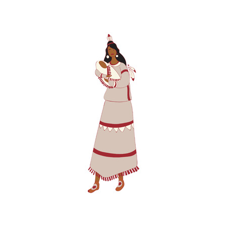 Mother red Indian holding a baby in her arms. Vector illustration.