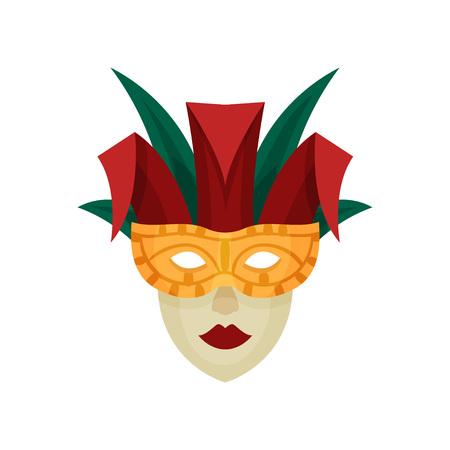 Venetian carnival mask. Yellow, green, red. Vector illustration on white background Illustration