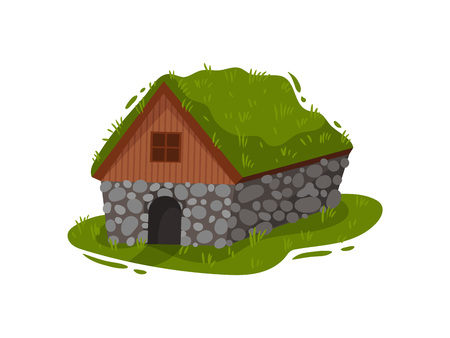 Traditional Icelandic stone house with a peat roof. Vector illustration.