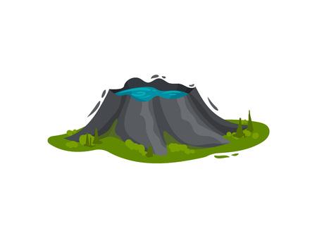 Volcanic lake Vector illustration on white background. 矢量图像