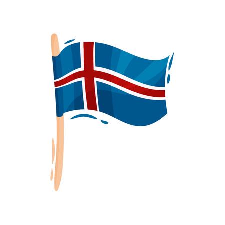 Flag of IcelandWaving flag of iceland on the pole. Vector illustration on white background.