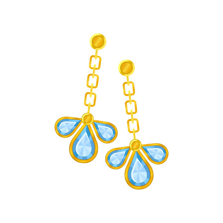 Pair of gold earrings with three petals of the jewel of a chain. Vector illustration on white background. Ilustrace