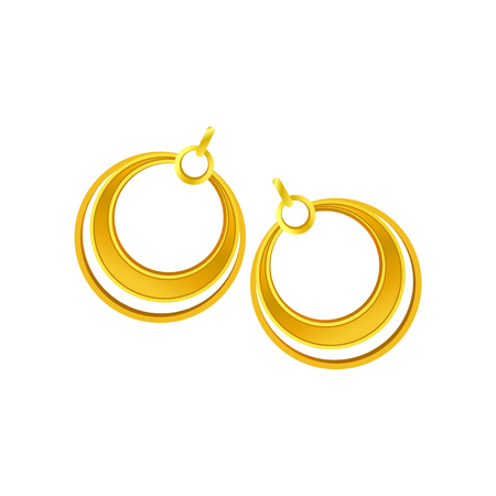 Gold earrings in the form of rings. Vector illustration on white background.