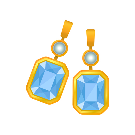 Pair of earrings with a large blue gem. Vector illustration on white background.