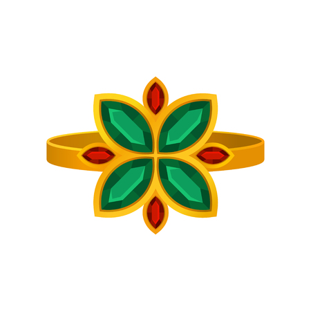 Golden ring with a flower of ruby and emerald. Vector illustration on white background. Çizim