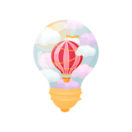 Striped balloon with a flag flying between the clouds. Figure inside the light bulb. Vector illustration on white background.