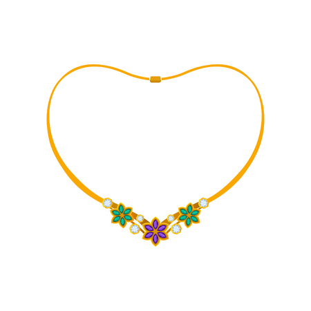 Elegant gold necklace with flowers made of precious stones. Vector illustration on white background.