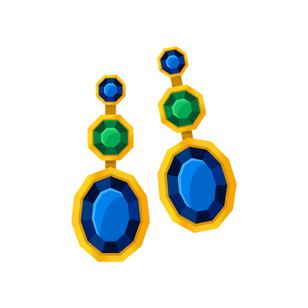 Earrings with large gems. Vector illustration on white background.