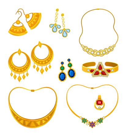 Set of images of gold jewelery with precious stones necklaces, rings, earrings, bracelets. Vector illustration on white background.